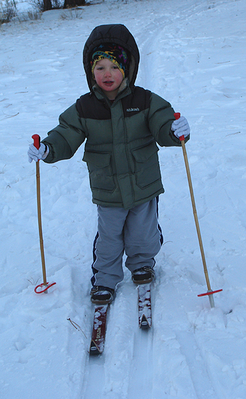 Harrison's first time on skis.