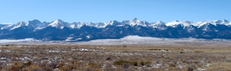 It's hard to find a bad view of the Sangre de Cristo range. This photo was taken out east of the Westcliffe/Silver Cliff clusterplex on Thursday afternoon when the air was exceptionally crisp and clear.