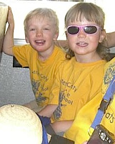 Harrison and his friend Mara on the class field trip the day before graduation from Custer County Preschool. Photo by Monica Backsen.